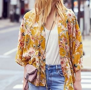 Free People Only In Dreams Yellow Floral Kimono